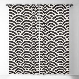 Black & White Geometric Pattern Fish Scales Japanese Style Asian Pattern Blackout Curtain