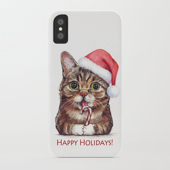 Cat in Santa Hat with Candy Cane iPhone Case