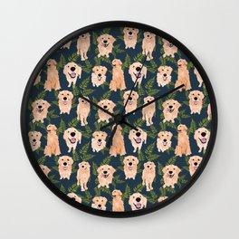 Golden Retrievers and Ferns on Navy Wall Clock