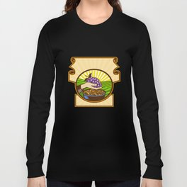 Hand Holding Grapes Raisins Crest Woodcut Long Sleeve T-shirt
