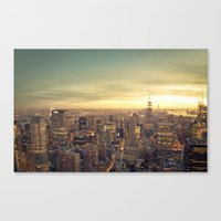 new york skyline Canvas Prints featuring New York Skyline Cityscape by Vivienne Gucwa