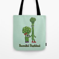 boyfriend Tote Bags featuring Broccolini Boyfriend by khalan