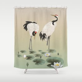 Water Lilies and Cranes Shower Curtain