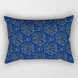 Gold Monstera on Blue Rectangular Pillow