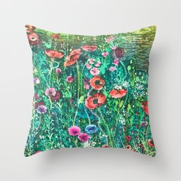 Poppies, Cornflowers and Spring Wildflowers at the Lagoon Throw Pillow
