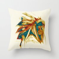 native american Throw Pillows featuring Native American by Jo Tan