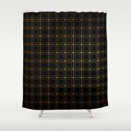 Contemporary Black and Gold Geometric Square Pattern Shower Curtain