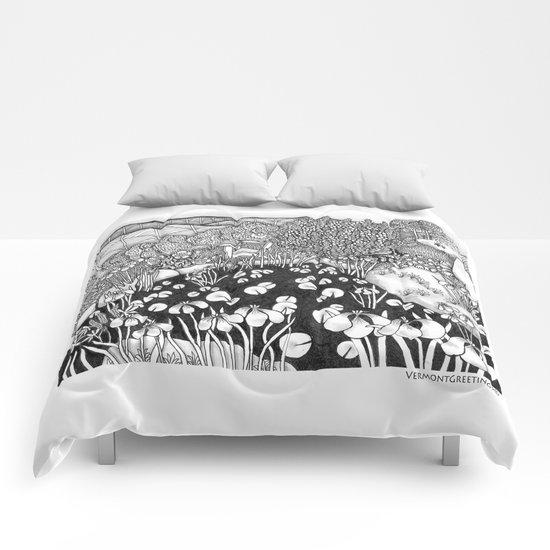 Zentangle Vermont Landscape Black and White Illustration Comforters