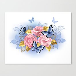 Three Pink Roses with Butterflies Canvas Print