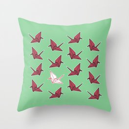 PAPER CRANES RASPBERRY MINT Throw Pillow