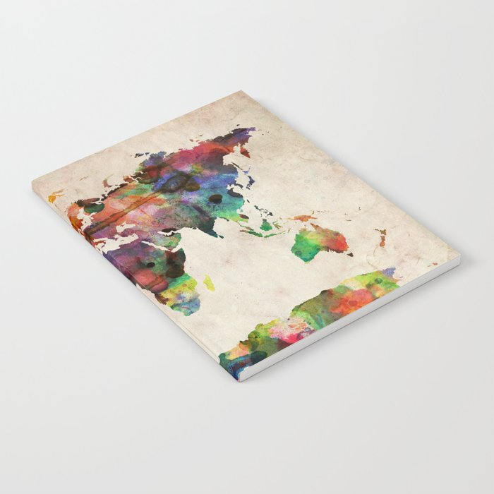 Urban Watercolor World Map.World Map Urban Watercolor Notebook By Artpause Society6