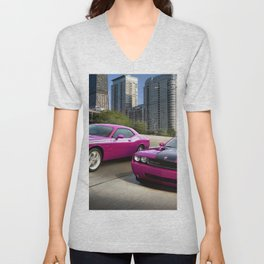 Limited Edition Fuchsia Panther Pink Challenger RT Classic Variation Models Unisex V-Neck