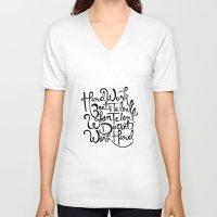 work hard V-neck T-shirts featuring Hard Work  by carlyfairbank
