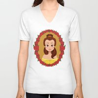 belle V-neck T-shirts featuring Belle by Joey Ellson