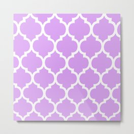 MOROCCAN PURPLE VIOLET AND WHITE PATTERN Metal Print