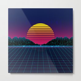 Futuresynth Aesthetic Metal Print