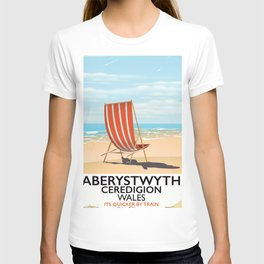 Aberystwyth Wales vintage beach poster T-shirt