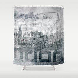 Urban-Art LONDON Houses of Parliament and Red Buses I Shower Curtain