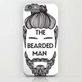 Bearded Man with Man Bun Beard Lover iPhone Case