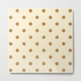 Blanched Almond Gold Glitter Dot Pattern Metal Print