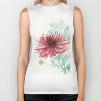 dahlia Biker Tanks featuring Bursting With Excitement  by Kate Havekost Fine Art