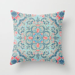 Gypsy Floral in Red & Blue Throw Pillow