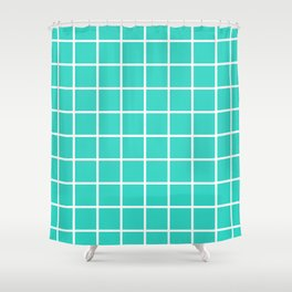 GRID DESIGN (WHITE-TURQUOISE) Shower Curtain