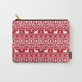 Biewer Terrier fair isle christmas red and white pattern minimal dog breed pet designs Carry-All Pouch