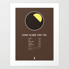Long Island Iced Tea Cocktail Recipe Poster (Metric) Art Print