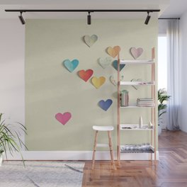 Paper Hearts Wall Mural