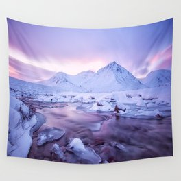 Freezing Mountain Lake Landscape Wall Tapestry