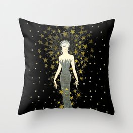 "Art Deco Sepia Illustration ""Star Studded Glamor"" Throw Pillow"