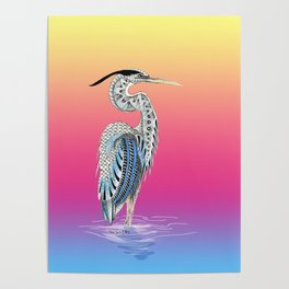 Great Blue Heron Totem Poster