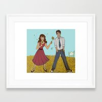 pushing daisies Framed Art Prints featuring Pushing Daisies by ArtemisDrawings