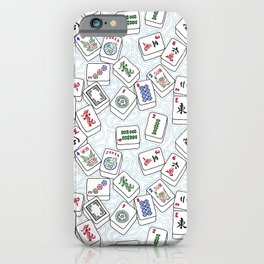 Mahjong Tiles Jumbled Across White Background With Swirls iPhone Case