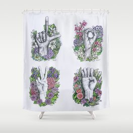 LOVE ASL Art- square version Shower Curtain