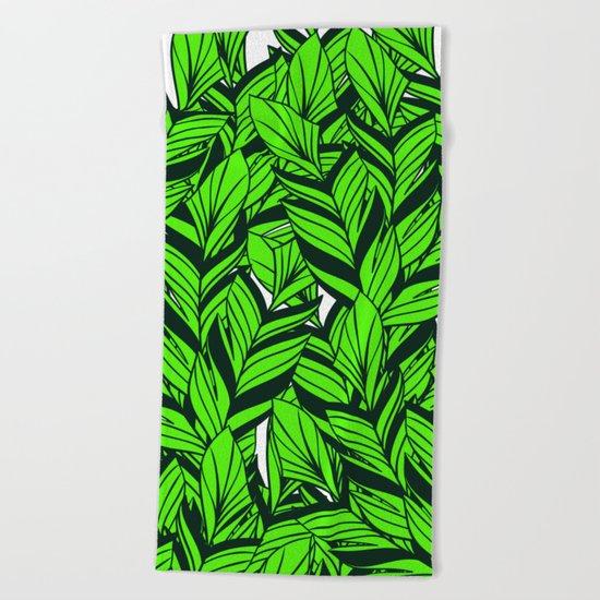 Jungle Banana Leaves Pattern Beach Towel