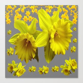 YELLOW DAFFODILS CHARCOAL GREY FLORAL Canvas Print