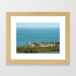 Boca Chita Key and The Miami Skyline Framed Art Print