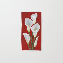 Hand Painted White Calla Lilies on Red Hand & Bath Towel