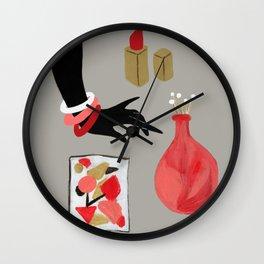 Treasures in Red Wall Clock