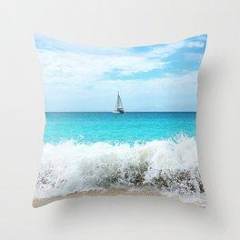 Sailing the Caribbean Throw Pillow