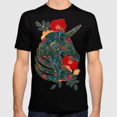 Unicorn Tapestry Mens Fitted Tee Black X-LARGE
