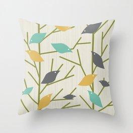 Mid Century Modern Birdsong Throw Pillow