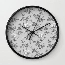 grey rose Wall Clock