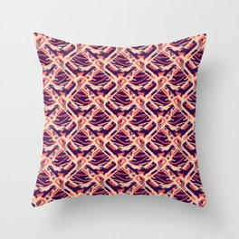Abstract Ocean Wave Geometric  Square - Blue & Red Nautical Ocean Pattern Throw Pillow