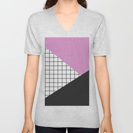Geometry: black, pink and squres Unisex V-Neck