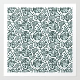 Paisley (Dark Green & White Pattern) Art Print