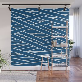 Classic blue and white tangled stripes pattern Wall Mural