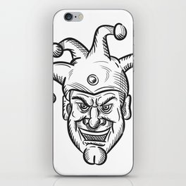 Crazy Medieval Court Jester Drawing iPhone Skin